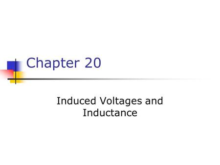Chapter 20 Induced Voltages and Inductance. Faraday's Experiment – Set Up A current can be produced by a changing magnetic field First shown in an experiment.