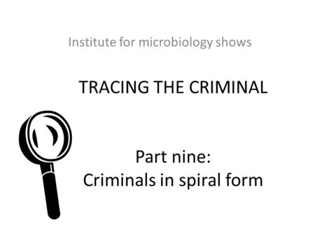 TRACING THE CRIMINAL Part nine: Criminals in spiral form Institute for microbiology shows 