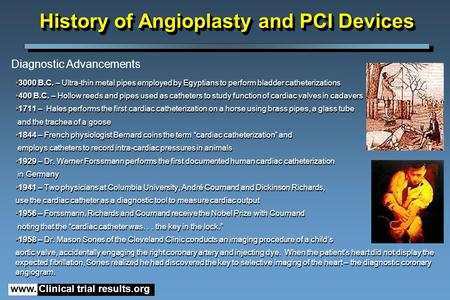 Www. Clinical trial results.org History of Angioplasty and PCI Devices 3000 B.C. – Ultra-thin metal pipes employed by Egyptians to perform bladder catheterizations.