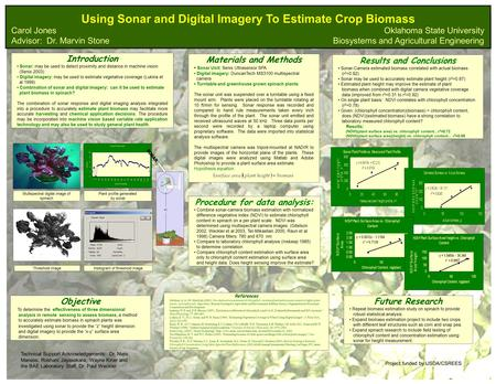 Using Sonar and Digital Imagery To Estimate Crop Biomass Introduction Sonar: may be used to detect proximity and distance in machine vision (Senix 2003)