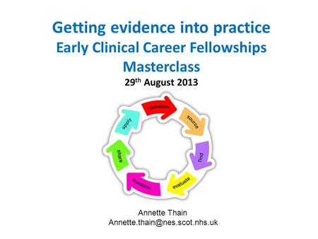 Getting evidence into practice Early Clinical Career Fellowships Masterclass 29 th August 2013 Annette Thain