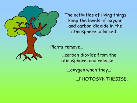The activities of living things keep the levels of oxygen and carbon dioxide in the atmosphere balanced… Plants remove… …carbon dioxide from the atmosphere,