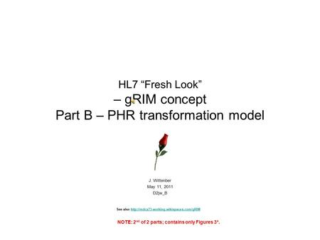 "HL7 ""Fresh Look"" – gRIM concept Part B – PHR transformation model J. Wittenber May 11, 2011 D2jw_B See also"