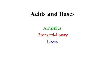 Acids and Bases Arrhenius Bronsted-Lowry Lewis. Definitions of Acids/Bases.
