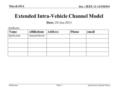 Submission doc.: IEEE 11-14/0365r0 March 2014 Igal Kotzer, General MotorsSlide 1 Extended Intra-Vehicle Channel Model Date: 20-Jan-2014 Authors: