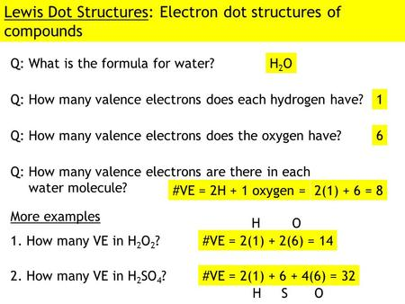 Lewis Dot Structures: Electron dot structures of compounds