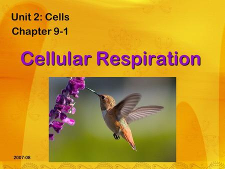 2007-08 Cellular Respiration Unit 2: Cells Chapter 9-1.