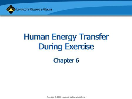 Copyright © 2006 Lippincott Williams & Wilkins. Human Energy Transfer During Exercise Chapter 6.