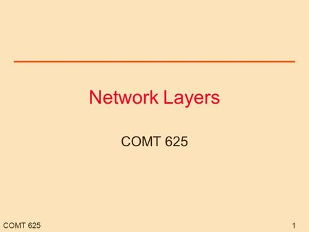 COMT 6251 Network Layers COMT 625. 2 Overview IP and general Internet Operations Address Mapping ATM LANs Other network protocols.