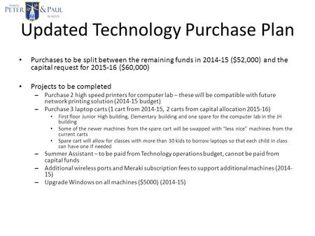 Updated Technology Purchase Plan Purchases to be split between the remaining funds in 2014-15 ($52,000) and the capital request for 2015-16 ($60,000) Projects.