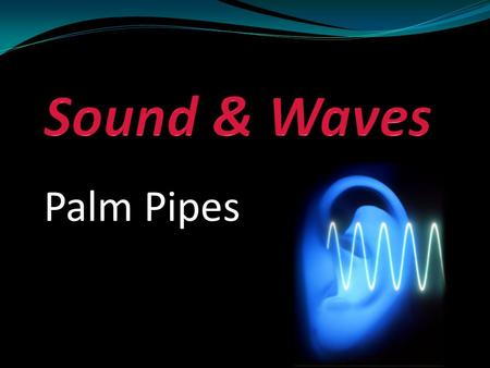 Palm Pipes. Objective Students will be able to create vibrations, which we hear as music, in order to understand basic properties of sound and waves.