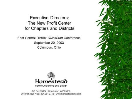 Executive Directors: The New Profit Center for Chapters and Districts East Central District QuickStart Conference September 20, 2003 Columbus, Ohio PO.