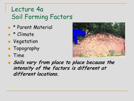 Lecture 4a Soil Forming Factors * Parent Material * Climate Vegetation Topography Time Soils vary from place to place because the intensity of the factors.