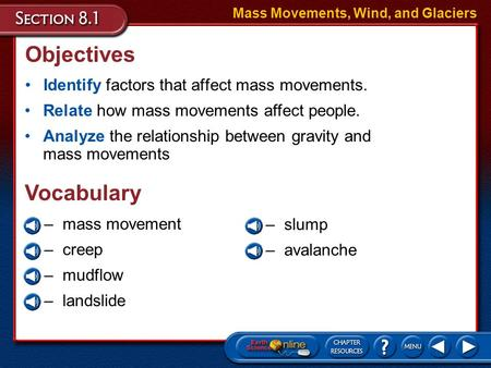 Objectives Identify factors that affect mass movements. Mass Movements, Wind, and Glaciers Relate how mass movements affect people. Analyze the relationship.