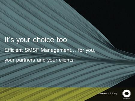 It's your choice too Efficient SMSF Management… for you, your partners and your clients.
