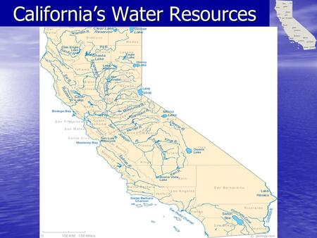 California's Water Resources. California has many resources, none more important than water. The main sources of California's freshwater supply are precipitation,