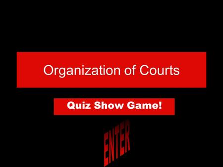 "Organization of Courts Quiz Show Game! DIRECTIONS Read the question and click on the correct answer. To go to the next question click ""next question."