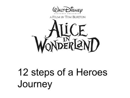 12 steps of a Heroes Journey. Ordinary World Alice is an unusual young women that let's her curiosity and wild imagination get the best of her.