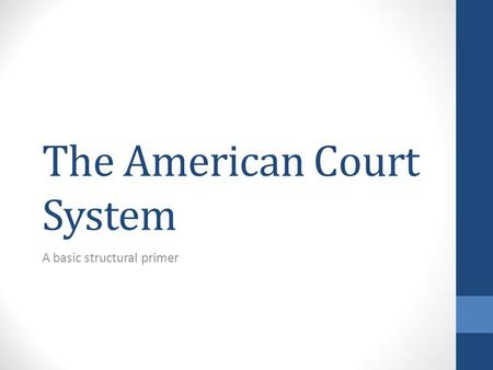 The American Court System A basic structural primer.