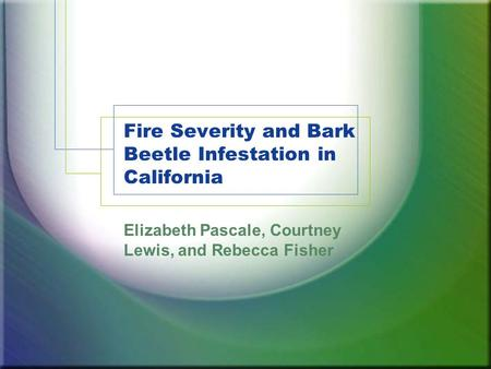 Fire Severity and Bark Beetle Infestation in California Elizabeth Pascale, Courtney Lewis, and Rebecca Fisher.