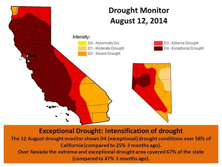 Exceptional Drought: Intensification of drought The 12 August drought monitor shows D4 (exceptional) drought conditions over 58% of California (compared.