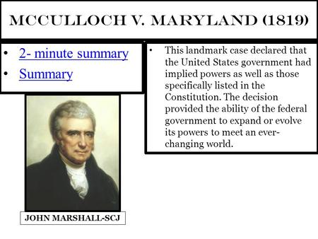 an analysis of the landmark case of mcculloch versus maryland