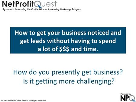 System for Increasing Net Profits Without Increasing Marketing Budgets  2009 NetProfitQuest Pte Ltd. All rights reserved. How to get your business noticed.