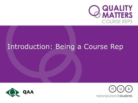 Introduction: Being a Course Rep. Learning objectives – identify the role of a rep – jargon busting – consider ways to get info from coursemates – how.