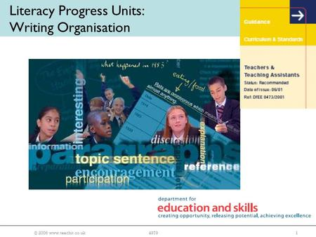 © 2006 www.teachit.co.uk14979 Literacy Progress Units: Writing Organisation.