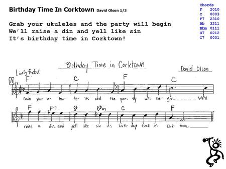 Birthday Time In Corktown David Olson 1/3 Grab your ukuleles and the party will begin We'll raise a din and yell like sin It's birthday time in Corktown!