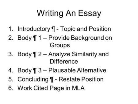 Writing An Essay 1.Introductory ¶ - Topic and Position 2.Body ¶ 1 – Provide Background on Groups 3.Body ¶ 2 – Analyze Similarity and Difference 4.Body.