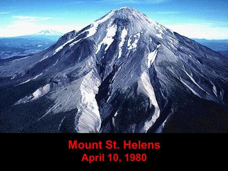 Mount St. Helens April 10, 1980. On March 20, 1980, after a quiet period of 123 years, earthquake activity once again began under Mt. St. Helens. March.