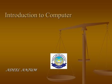 Introduction to Computer ADEEL ANJUM. Computers for Individual Users  Most computers are meant to be used by only one person at a time  Such computers.
