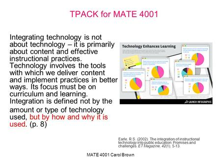 MATE 4001 Carol Brown TPACK for MATE 4001 Integrating technology is not about technology – it is primarily about content and effective instructional practices.