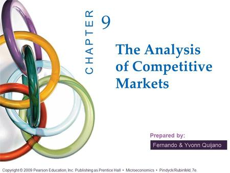 Fernando & Yvonn Quijano Prepared by: The Analysis of Competitive Markets 9 C H A P T E R Copyright © 2009 Pearson Education, Inc. Publishing as Prentice.