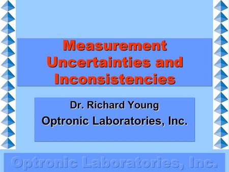 Measurement Uncertainties and Inconsistencies Dr. Richard Young Optronic Laboratories, Inc.