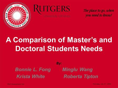 A Comparison of Master's and Doctoral Students Needs By: Bonnie L. Fong Minglu Wang Krista White Roberta Tipton VALE Assessment Fair Thursday, July 17,