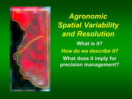 Agronomic Spatial Variability and Resolution What is it? How do we describe it? What does it imply for precision management?
