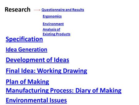 Research Questionnaire and Results Analysis of Existing Products Ergonomics Environment Specification Idea Generation Development of Ideas Final Idea: