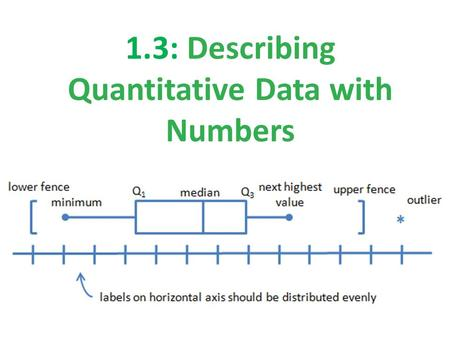 1.3: Describing Quantitative Data with Numbers. Section 1.3 Describing Quantitative Data with Numbers After this section, you should be able to… MEASURE.