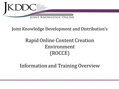 Rapid Online Content Creation Environment (ROCCE)
