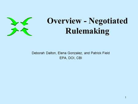 1 Deborah Dalton, Elena Gonzalez, and Patrick Field EPA, DOI, CBI Overview - Negotiated Rulemaking.