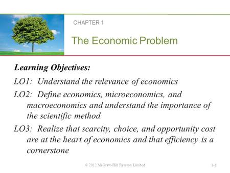 Learning Objectives: The Economic Problem LO1: Understand the relevance of economics LO2: Define economics, microeconomics, and macroeconomics and understand.