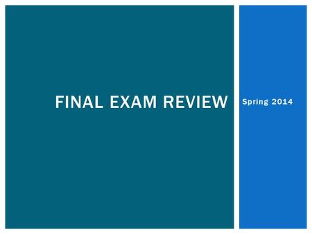Spring 2014 FINAL EXAM REVIEW. SLOPE  Name the four types of slope. 1. _________ 2. _________ 3. _________ 4. _________ Answer: positive, negative,