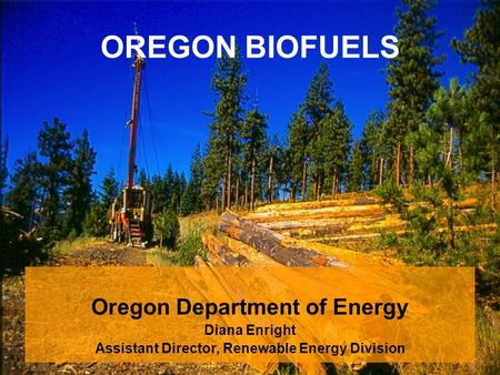 OREGON BIOFUELS Oregon Department of Energy Diana Enright Assistant Director, Renewable Energy Division.