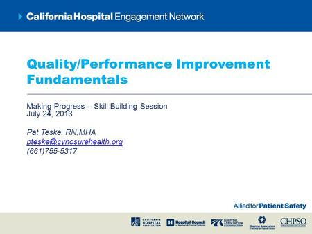 Quality/Performance Improvement Fundamentals Making Progress – Skill Building Session July 24, 2013 Pat Teske, RN,MHA (661)755-5317.