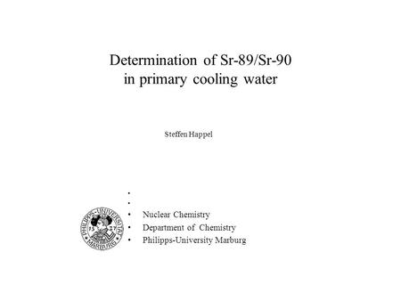Determination of Sr-89/Sr-90 in primary cooling water