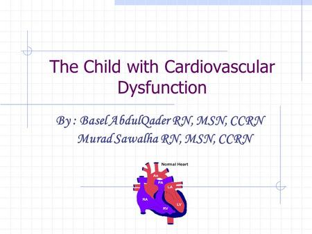 The Child with Cardiovascular Dysfunction By : Basel AbdulQader RN, MSN, CCRN Murad Sawalha RN, MSN, CCRN.