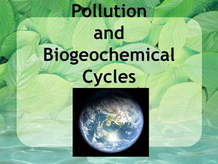 Pollution and Biogeochemical Cycles. Why should you care about the Earth? Pick a partner that sits near you. Write two or three reasons.