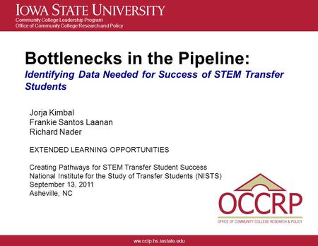 Ww.cclp.hs.iastate.edu Community College Leadership Program Office of Community College Research and Policy Bottlenecks in the Pipeline: Identifying Data.